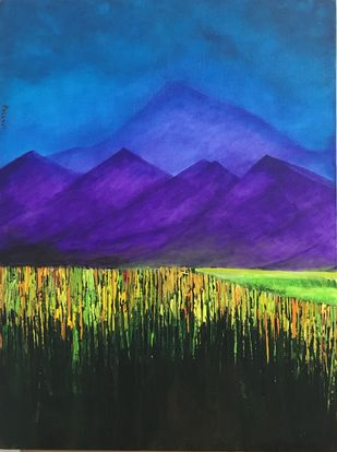 Atlas - The Purple mountains by Pallavi Donni, Abstract Painting, Acrylic on Canvas, Denim color