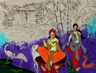 Divine couple by Chetan Katigar, Expressionism Painting, Acrylic on Canvas, Port Gore color