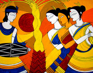 TRIBAL DANCE by Jiaur Rahman, Expressionism Painting, Acrylic on Canvas, Gamboge color