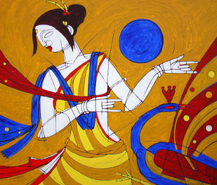 TRIBAL WOMAN by Jiaur Rahman, Expressionism Painting, Acrylic on Canvas, Bay of Many color