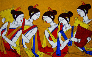 TRIBAL WOMEN by Jiaur Rahman, Expressionism Painting, Acrylic on Canvas, Haiti color