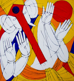 SIDDHI DAATA by Jiaur Rahman, Expressionism Painting, Acrylic on Canvas, Milano Red color