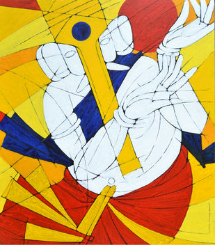 SIDDHI DAATA by Jiaur Rahman, Expressionism Painting, Acrylic on Canvas,