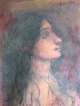 """Radha, Pastel on Paper by Modern Artist """"In Stock"""" by Suhas Roy, Expressionism Painting, Pastel on Paper, Empress color"""
