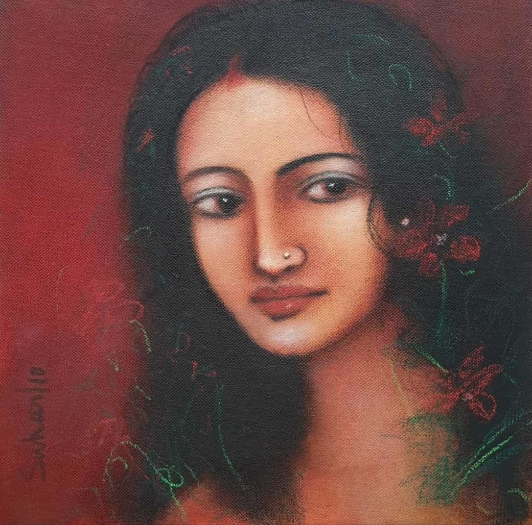 Radha, Oil on Canvas by Suhas Roy, Expressionism Painting, Oil on Canvas, Masala color