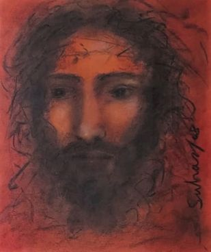 Christ by Suhas Roy, Expressionism Painting, Mixed Media on Paper, Metallic Copper color