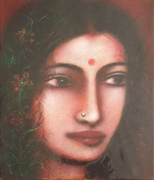 Radha by Suhas Roy, Expressionism Painting, Oil on Canvas, Kabul color