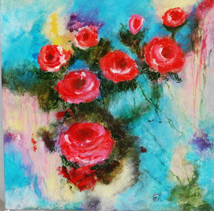 """Floral Acrylic Painting """"Deep Pink Roses"""" original on canvas board // 14"""" × 14"""" by Indrani Ghosh, Abstract Painting, Acrylic on Board, Green Spring color"""