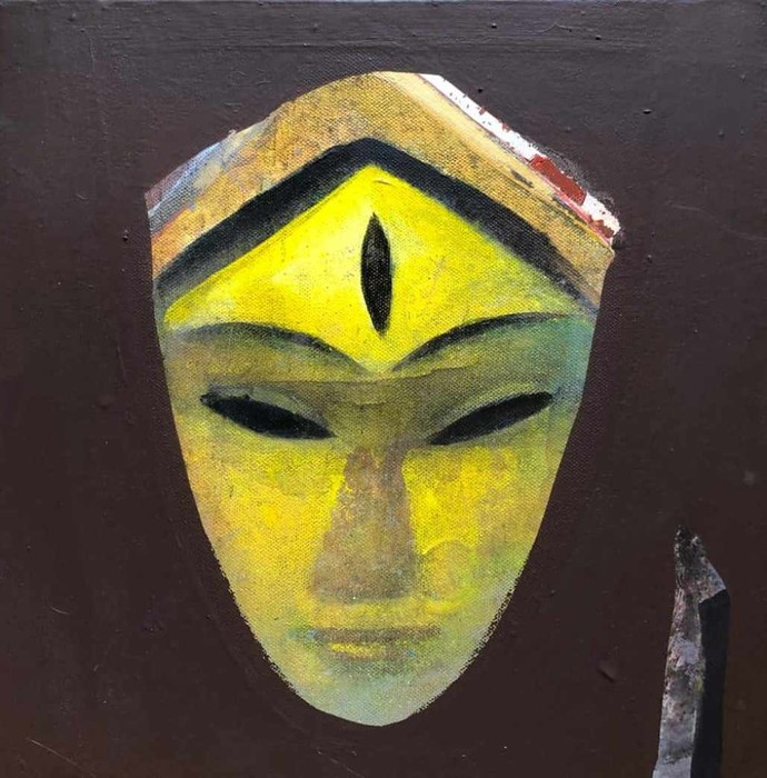 Face by Tapas Ghosal, Expressionism Painting, Acrylic on Canvas, Turmeric color