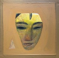 Face by Tapas Ghosal, Expressionism Painting, Acrylic on Canvas, Muesli color
