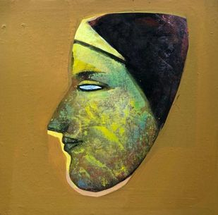 Face by Tapas Ghosal, Expressionism Painting, Acrylic on Canvas, Metallic Sunburst color
