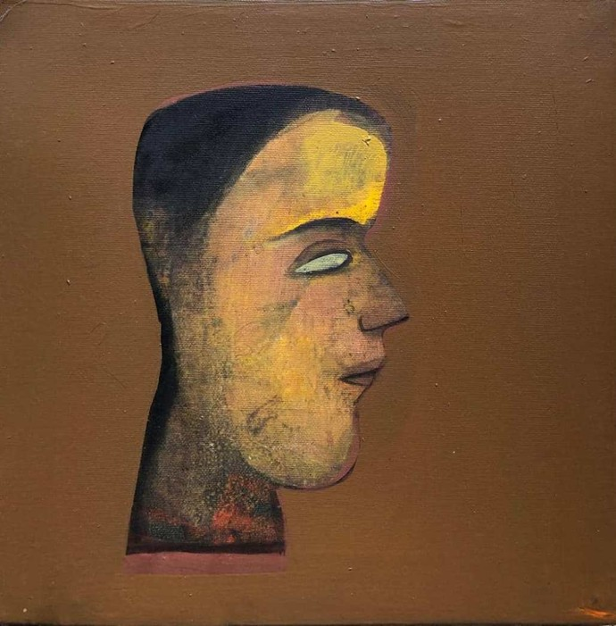 Face by Tapas Ghosal, Expressionism Painting, Acrylic on Canvas, Shingle Fawn color