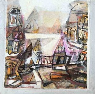 Cityscape by Tapas Ghosal, Abstract Painting, Acrylic on Canvas, Timberwolf color