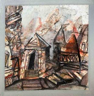 Cityscape by Tapas Ghosal, Abstract Painting, Acrylic on Canvas, Cotton Seed color