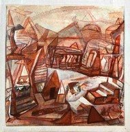 Cityscape by Tapas Ghosal, Abstract Painting, Acrylic on Canvas, Bone color