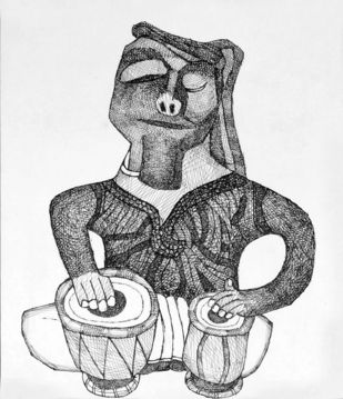 Musician series - 1 by Amit Biswas, Illustration Drawing, Pen & Ink on Paper, Gallery color