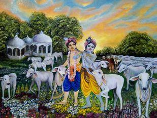 Krishna & Balarama by Priya Kurup, Expressionism Painting, Oil on Canvas, Rangitoto color