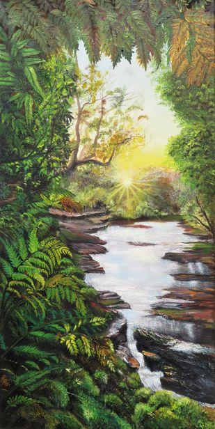 Ferns by Priya Kurup, Fantasy Painting, Oil on Canvas, Kelp color