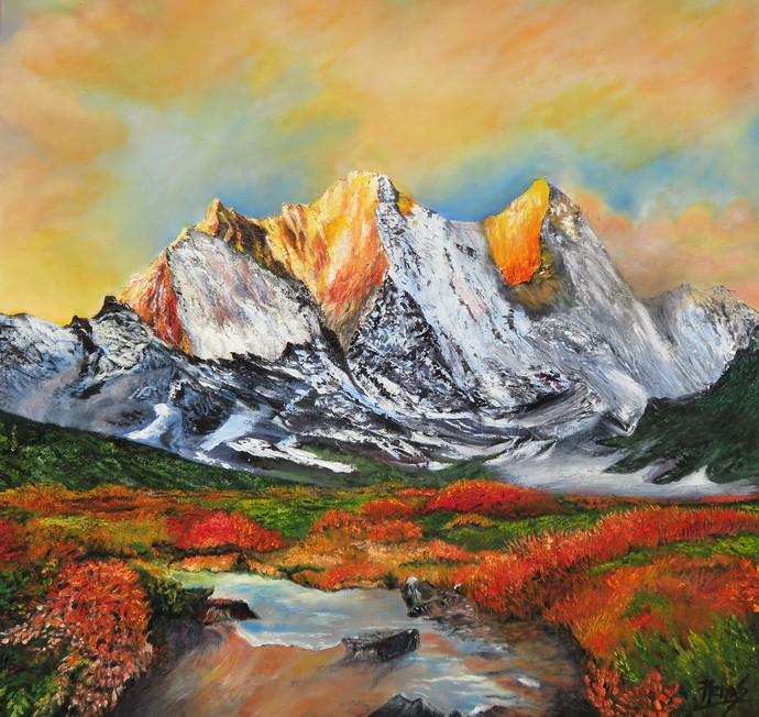 Mountains & Valley by Priya Kurup, Abstract Painting, Oil on Canvas, Misty Moss color