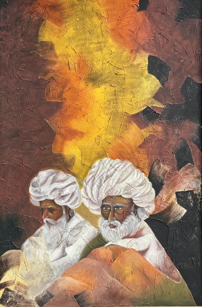 Ek Zamana by Geeta Vadhera, Abstract Painting, Oil on Canvas, Dirt color
