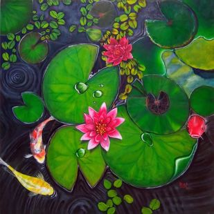 Lily & Koi by Priya Kurup, Expressionism Painting, Oil on Canvas, Leather Jacket color