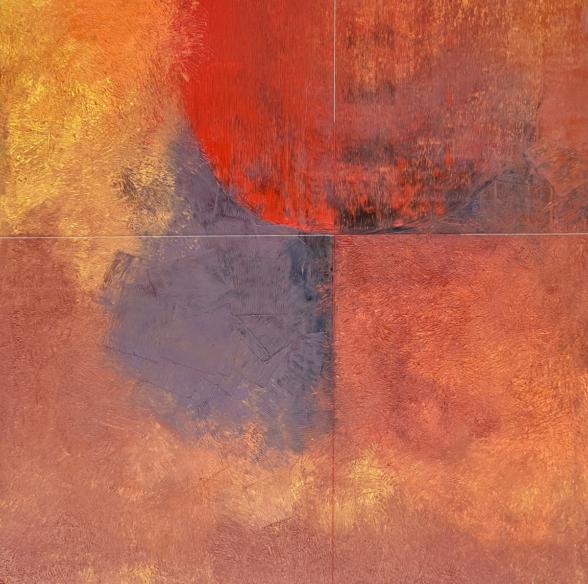 Ashab Inteha by Geeta Vadhera, Abstract Painting, Oil on Canvas, Fuzzy Wuzzy Brown color