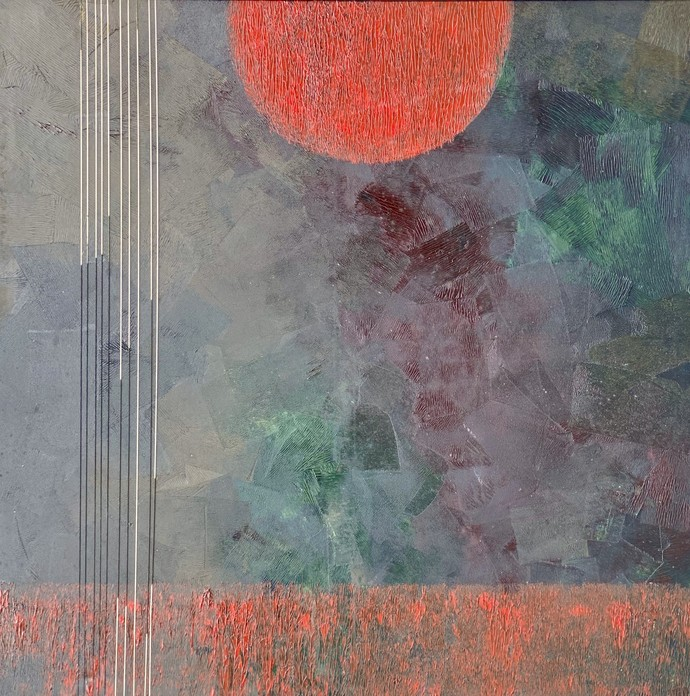 Qalb Qinnat by Geeta Vadhera, Abstract Painting, Oil on Canvas, Boulder color