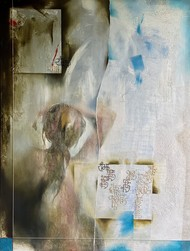 Udhar Vahan by Geeta Vadhera, Abstract Painting, Oil on Canvas, Mist Gray color