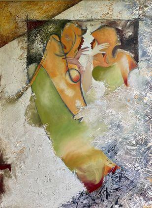 Sarokar by Geeta Vadhera, Abstract Painting, Oil on Canvas, Taupe Gray color