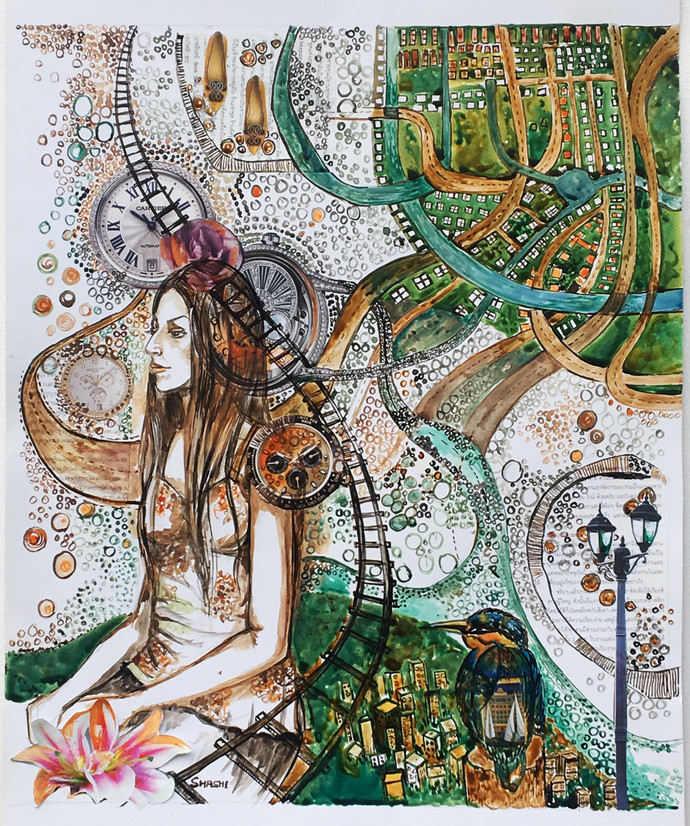 Neural Connect by Shashi Tripathi, Fantasy Painting, Mixed Media on Paper, Swirl color