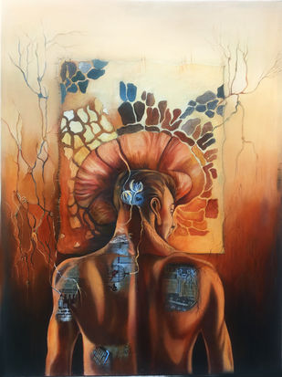 Metaspace by Shashi Tripathi, Fantasy Painting, Oil on Canvas, Sepia Skin color