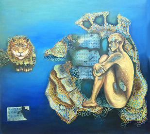 Mindscape by Shashi Tripathi, Conceptual Painting, Oil on Canvas, Cerulean Frost color