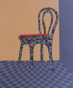 The seat by Shrea Ghosh, Pop Art Painting, Acrylic on Canvas, Chocolate color