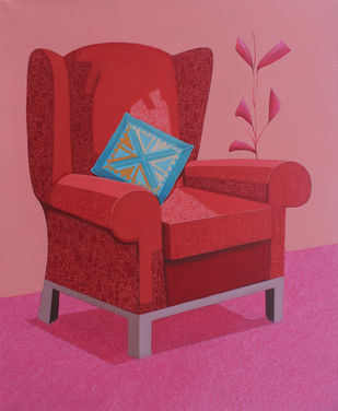 Red sofa by Shrea Ghosh, Pop Art Painting, Acrylic on Canvas, Contessa color