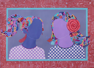 Sisters by Shrea Ghosh, Pop Art Painting, Acrylic on Paper, Trendy Pink color