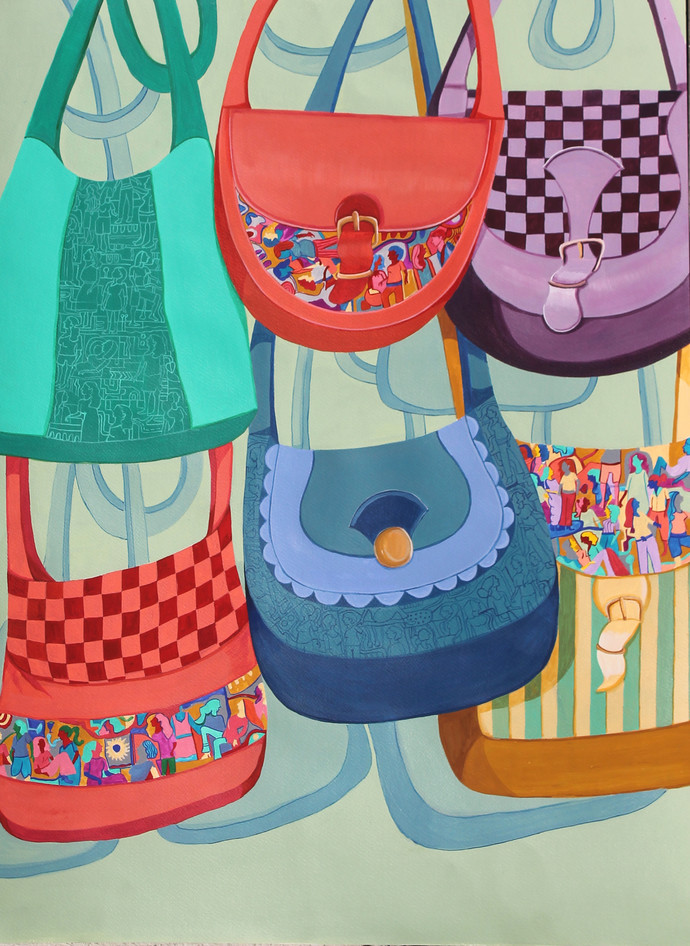 Girls Party by Shrea Ghosh, Pop Art Painting, Acrylic on Paper, Tea color