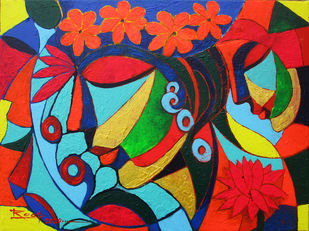 Serenity-V by Roop Chand, Expressionism Painting, Acrylic on Canvas, Cinnabar color