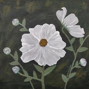 Cosmic White Flowers by Gitika Singh, Expressionism Painting, Acrylic on Canvas, French Gray color