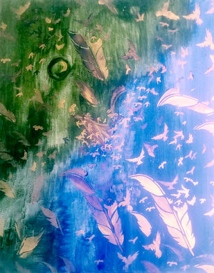 Liberation by Poornima Dayal, Abstract Painting, Acrylic on Canvas, Wild Blue Yonder color