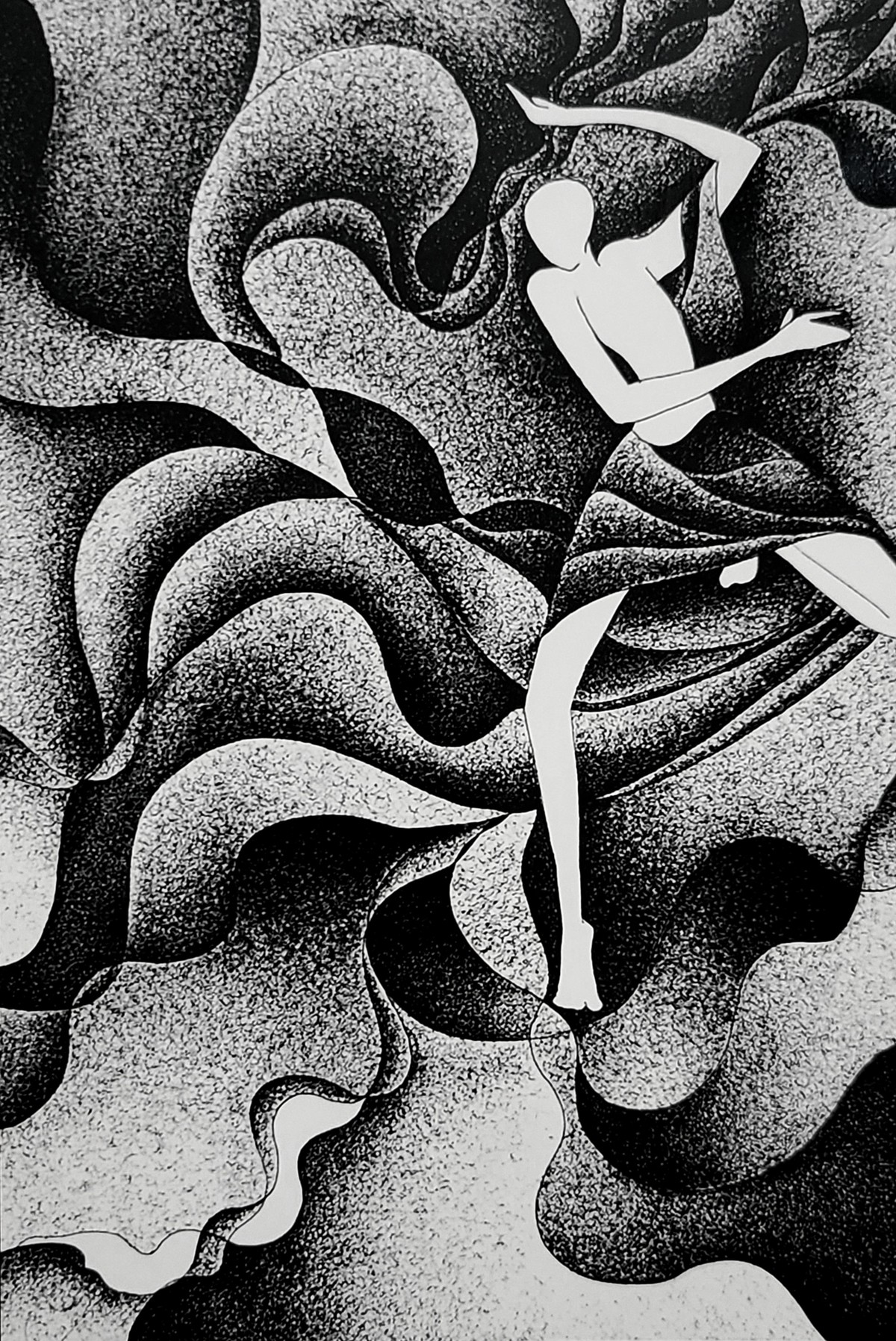 Power of gesture by Reena Tomar, Expressionism Drawing, Pen & Ink on Canvas, Eerie Black color