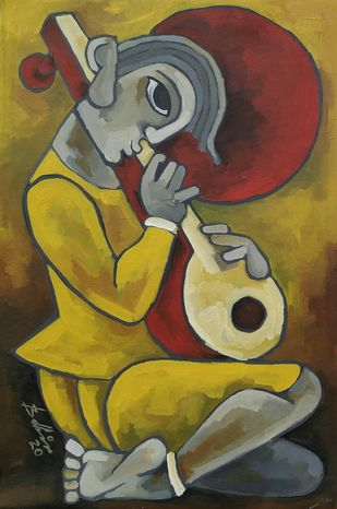 Evening raag by Balbir Singh, Expressionism Painting, Acrylic on Canvas, Gold Fusion color