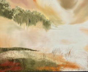 BHEEGA KINARA by Geeta Vadhera, Abstract Painting, Oil on Canvas, Akaroa color