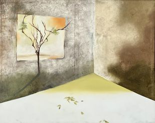 SAHAR SUKOON by Geeta Vadhera, Abstract Painting, Oil on Canvas, Sisal color
