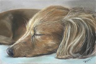 Dreaming by Dhiraj K Singh, Realism Drawing, Pastel on Paper, Makara color