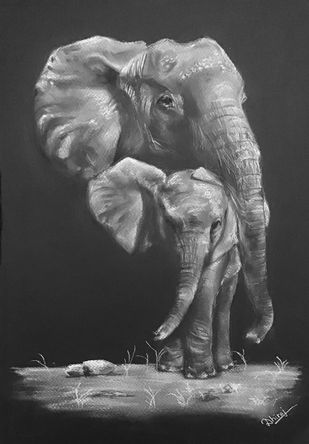 Never ending bond by Dhiraj K Singh, Photorealism Drawing, Pastel on Paper, Mine Shaft color