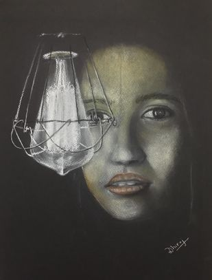 Fight against dark by Dhiraj K Singh, Expressionism Drawing, Pastel on Paper, Dune color