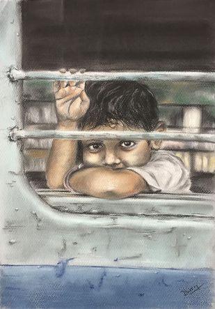 Journey by Dhiraj K Singh, Illustration Drawing, Pastel on Paper, Lemon Grass color