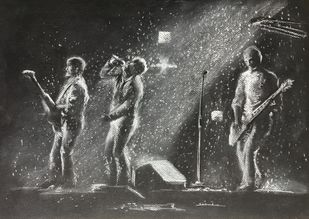 Let's rock by Dhiraj K Singh, Illustration Drawing, Pastel on Paper, Fuscous Gray color