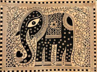 The Majestic Indian Elephant Digital Print by Vinita,Folk