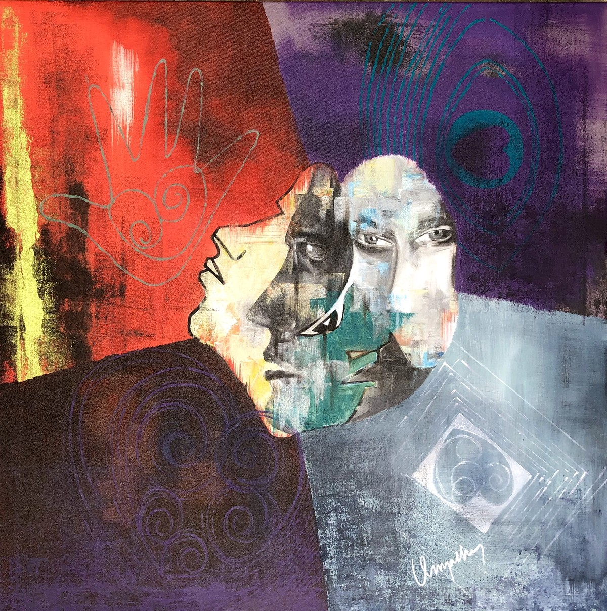The Portrait by Umapathy, Abstract Painting, Acrylic on Canvas, Matterhorn color